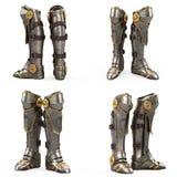 Passe a armadura alta do cavaleiro das botas da fantasia isolada no fundo branco ilustração 3D foto de stock royalty free