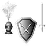 Passe o capacete, o protetor e a espada tirados em cores preto e branco ilustração do vetor
