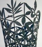 Passe o quadro das folhas contra um fundo cinzento Fotografia de Stock
