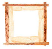 Passe-partout of white maize and pressed  iris  wooden frame Stock Image