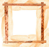 Passe-partout of white maize and pressed  iris  wooden frame. Passe-partout of white maize leaves and long pressed  iris leaves wooden frame Stock Photos