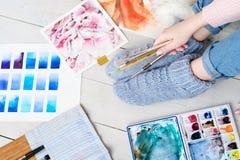 Passe-temps de peinture d'échantillon d'aquarelle d'instrument d'artiste Images libres de droits