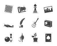 Passe-temps de silhouette, loisirs et icônes de vacances Images libres de droits