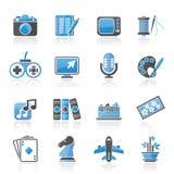 Passe-temps et icônes de loisirs Photographie stock libre de droits