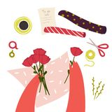 Passe-temps et travail de Floristics Tableau avec la mousse et outils avec Bascket Proc?d? de fabrication de disposition de bouqu illustration libre de droits