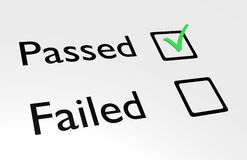 Passed. Illustration of passed and failed text with boxes and a green tick in the passed box Royalty Free Stock Images