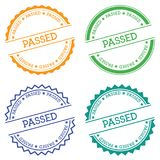 Passed badge isolated on white background. Flat style round label with text. Circular emblem vector illustration Stock Images