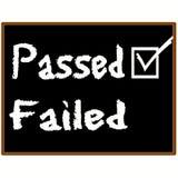 Passed exam grade. Passed tick on blackboard. School theme Stock Photos