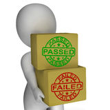 Passed And Failed Boxes Mean Product Testing Stock Photo