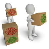 Passed And Failed Boxes Show Product Testing Stock Photo
