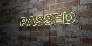 PASSED - Glowing Neon Sign on stonework wall - 3D rendered royalty free stock illustration. Can be used for online banner ads and direct mailers Royalty Free Stock Photography