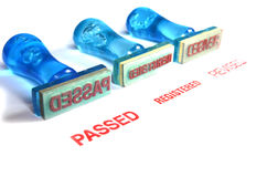 Passed letter on blue rubber stamp Stock Photo