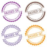 Passed QC badge isolated on white background. Flat style round label with text. Circular emblem vector illustration Royalty Free Stock Photo