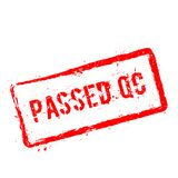 Passed QC red rubber stamp isolated on white. Passed QC red rubber stamp isolated on white background. Grunge rectangular seal with text, ink texture and Royalty Free Stock Photos