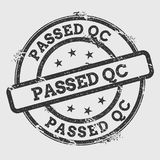 Passed QC rubber stamp  on white. Passed QC rubber stamp  on white background. Grunge round seal with text, ink texture and splatter and blots, vector Royalty Free Stock Photography