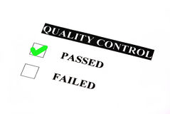Passed quality control. Quality control form. Passed is checked Royalty Free Stock Photos