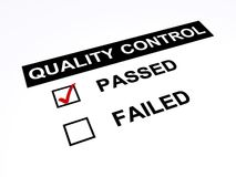 Passed quality control. Quality control concept with a tick mark in the passed check box, white background Stock Images