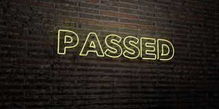 PASSED -Realistic Neon Sign on Brick Wall background - 3D rendered royalty free stock image. Can be used for online banner ads and direct mailers Royalty Free Stock Image