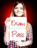 Passed test or exam and happy girl Royalty Free Stock Photos