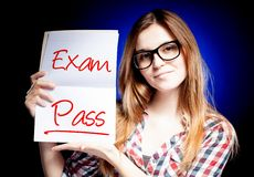 Passed test or exam and happy, proud girl. Passed test or exam and happy, proud woman Royalty Free Stock Photos