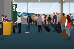 Passeggeri piani che si imbarcano sull'aereo sul portone di partenza illustrazione vettoriale