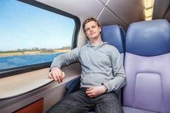 Passeggero dentro il treno Immagini Stock Libere da Diritti