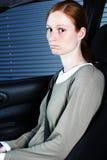 Passeggero triste dell'automobile Immagini Stock
