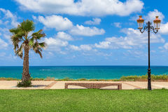 Passeggi lungo la riva del mar Mediterraneo in Israele Immagine Stock