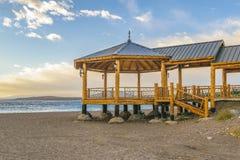 Passeggiata alla spiaggia, Los Antiguos, Argentina Immagini Stock