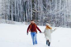 Passeggiata allegra di bello tenersi per mano sorridente delle coppie Posizione della foresta di Snowy Tempo di natale Fotografie Stock Libere da Diritti