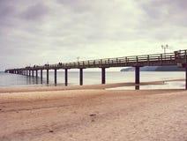 Passeggiata Binz, Germania della spiaggia Pilastro di vista dalla spiaggia fotografie stock