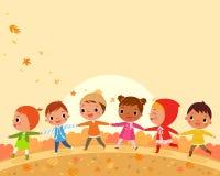 Passeggiata dei bambini un bello giorno di autunno illustrazione di stock