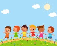 Passeggiata dei bambini un bello giorno di molla illustrazione di stock