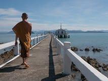 Passeggiata dei monaci buddisti fotografia stock