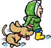 Passeggiata del cane della pioggia Fotografia Stock Libera da Diritti