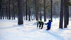 Passeggiata del figlio e della madre nella foresta di inverno stock footage