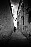 Passeggiata del monastero di Tashilompu con Shigaste Tibet Fotografia Stock