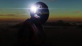 Passeggiata dell'astronauta sul pianeta straniero Marziano sopra guasta Concetto di fantascienza rappresentazione 3d Fotografia Stock Libera da Diritti