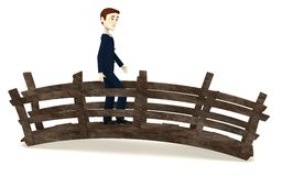 Passeggiata dell'uomo d'affari del fumetto sul ponte royalty illustrazione gratis