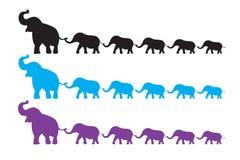 Passeggiata della famiglia dell'elefante Fotografie Stock Libere da Diritti