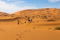 Passeggiata della gente del deserto Fotografia Stock Libera da Diritti