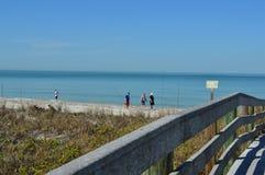 Passeggiata della gente lungo la spiaggia Immagine Stock