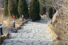Passeggiata della pietra per lastricare Fotografia Stock