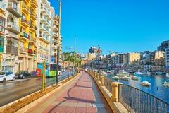 Passeggiata di George Borg Olivier, st Julian, Malta immagine stock libera da diritti