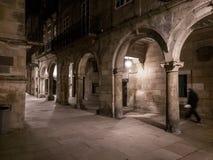 Passeggiata di notte in Santiago de Compostela Fotografia Stock