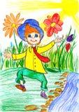 Passeggiata felice del ragazzo sul prato con i fiori - immagine della molla del disegno del bambino su carta Immagini Stock