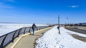 Passeggiata lungo Sandy Hook Bay congelato, New Jersey Fotografie Stock Libere da Diritti