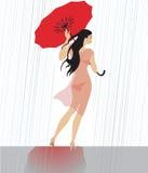 Passeggiata nella pioggia Fotografia Stock