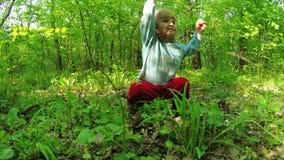 Passeggiata nelle ragazze della foresta stock footage