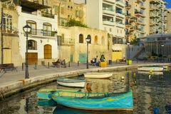 Passeggiata in st Julians, Malta Fotografie Stock Libere da Diritti